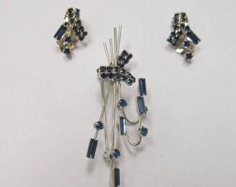 ON SALE Vintage 2pc Prong Set Blue Rhinestone Pin and Earring Set Item K # 2848