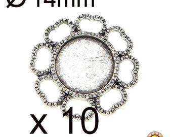 10 cabochon 14mm silver connector pendant