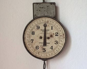 Vintage Hanson Produce Scale, Industrial Metal Hanging Scale, Hanson Model 842 Farmer Scale, Made in Chicago USA