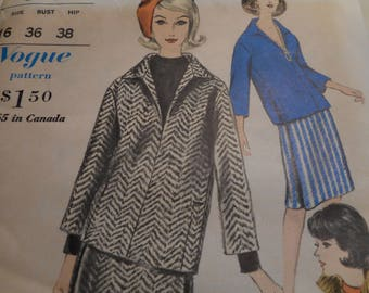 Vintage 1960's Vogue 5744 Blouse, Overblouse, Skirt and Pants Sewing Pattern, Size 16 Bust 36