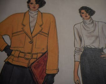 Vintage 1980's Vogue 9117 Jacket, Skirt, and Blouse Sewing Pattern, Size 14-16-18