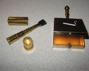 1950s Ash Catcher and collapsible Cigarette Holder  Vintage Costume Jewelry #2531