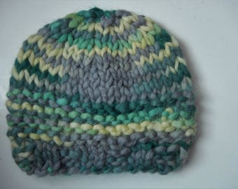 hand knitted baby hat / baby cap / green, grey, yellow hat / 0-3 months cap