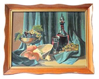 Set of Vintage Paint By Number Wine Paintings