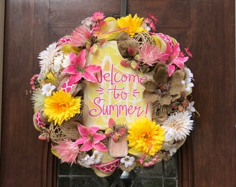 Welcome Summer Burlap and Mesh Wreath