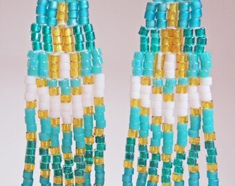 Turquois and White Fringe Earrings
