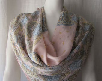 Silk Scarf light pink baby blue hand rolled edges