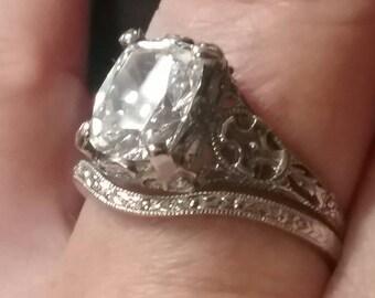 Antique Engagement Ring Set Antique Filigree Ring Set Antique Reproduction Cusion Cut Engagement Ring Set