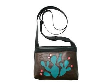 Cactus, dark brown vinyl, boxy cross body, vegan leather, zipper top