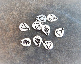 20 Mini Recycle Symbol Charms Little Tags Renew Ecology About 10x6mm