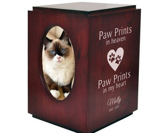 Pet Urn with Cherry Finish and Photo Frame