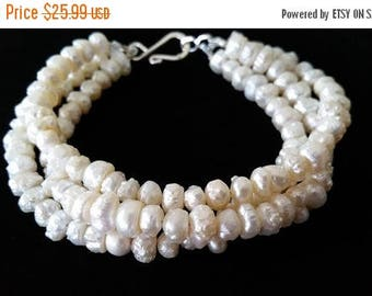 ON-SALE Three Strand Beautiful Ivory White Freshwater Pearl Bracelet - Bridesmaid Gifts, Brides Gifts, Wedding Jewelry - BUY 5 Get 1 Free