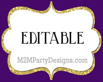 Candy Buffet Labels Purple, gold Print EDITABLE Card, Candy, Popcorn, Snack, Ice Cream, Cookie Buffet Labels, Instant Download