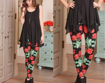 Pretty Rose Floral Print Leggings for Women| Perfect for Spring and Summer!