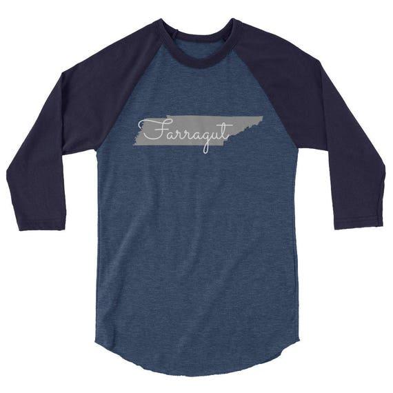 Farragut Tennessee State Tshirt Navy Blue 3/4 sleeve raglan shirt