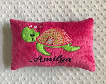 Sea Turtle Pillow, Hot Pink Turtle Pillow, Turtle Pillow