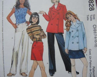2000s McCalls sewing pattern 3828 girls unlined jacket pants and skirt UNCUT Size 7-8-10-12