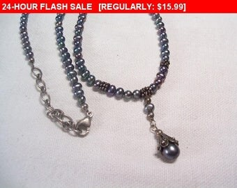 Vintage pearl bead choker necklace, estate jewelry necklace