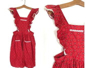 Vintage Full Apron Red with white lace Bib Apron Medium Large L