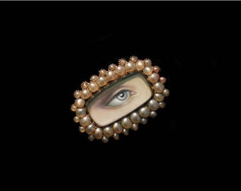 Sandra Hendler Miniature Lover's Eye Painting In Gorgeous Luminous Pearl Victorian Gold Ring-Portrait Ring