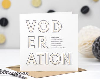 Voderation Vodka Card - Vodka Card - Vodka Lover - Voddy