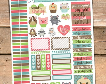 Farm Animals Stickers Planner Printable - Farm Girl, Country Love, Barnyard Animals, Print and Cut Planner Sticker Sheet