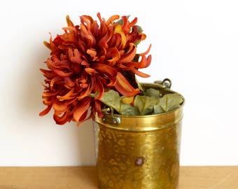 Small vintage brass cauldron…hammered brass planter…brass pail.