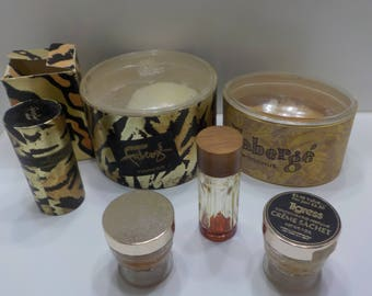 Vintage Faberge, Woodhue And Tigress Containers & Creme Sachets