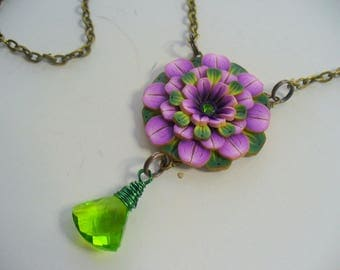 Purple Peridot Flower Necklace, Polymer Clay, Gemstone Necklace, August Birthstone, Purple and Green, Antique Brass Chain, Christmas Gift