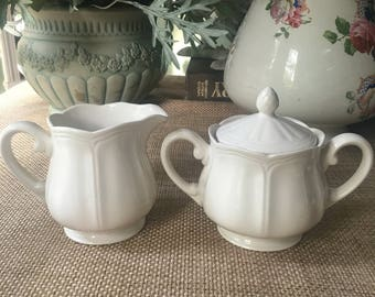 Vintage Ironstone Sugat Bowl and Creamer Set by Federalist White for Sears Roebuck 1968