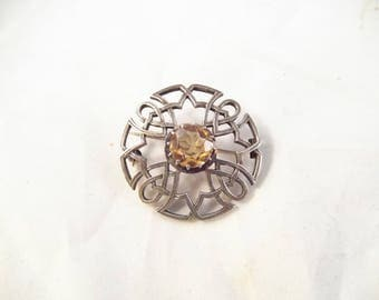 Sterling Silver Celtic Rhinestone Brooch