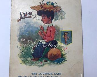 Antique Postcard , Poem Postcard , R.Hill 1906 , Never Used Postcard , Lovestick Lass ,