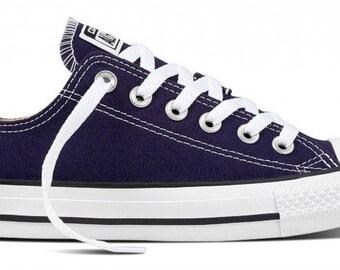 Converse Low Top Ladies Mens Midnight Indigo Blue Navy Bling w/ Swarovski Crystal Rhinestone Chuck Taylor All Star Sneakers Shoes