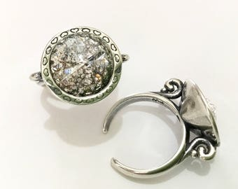Antique Silver tone Finger Ring Pewter Adjustable Cocktail w/ Swarovski Silver Patina Crystal Rivoli 14mm Rhinestone gem Filigree Lady Gift