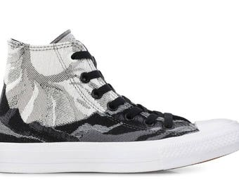 Converse Engineered Gray High Top Collector Grey Quilted knit w/ Swarovski Crystal Rhinestone Chuck Taylor All Star Sneaker Shoe