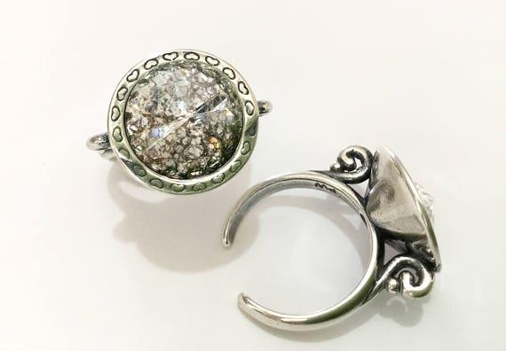 Antique Silver tone Finger Ring Pewter Adjustable Cocktail w/ Swarovski Silver Patina Crystal Rivoli 14mm Rhinestone gem Filigree Lady Gift