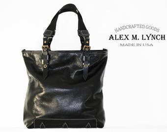 Black Leather Tote 010072