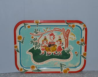 Vintage Pepsi Children Singing Tray ~ Metal Advertising Tray ~ Vintage Pop Advertising ~ Epsteam