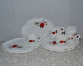 Milk Glass Rose Snack Set of 6 ~ Federal Glass Snack Set