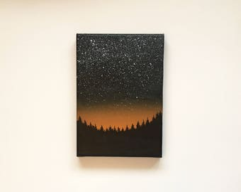 Fall Night III   Original Acrylic Painting   5x7 Inches   By Janelle Anakotta