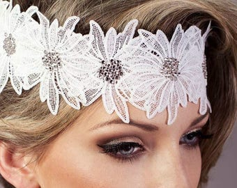 Lace white wedding headband with crystal pastes