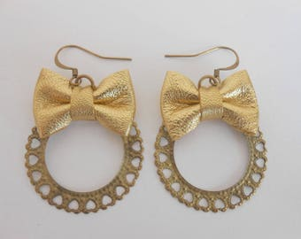 Mini gold leather knot earrings