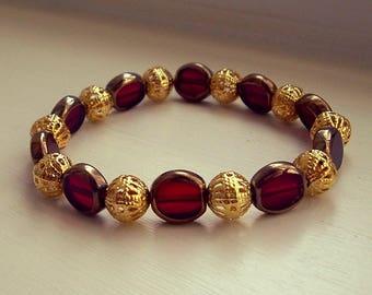 Garnet and Gold Beaded Bracelet