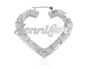 Sterling Silver Bamboo Name Earrings - Door Knocker Earrings, Hoop Earrings, Yellow, Rose Gold or Sterling Silver - Medium Size