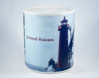 Coin Bank, Grand Haven Michigan Lighthouse Design, Artistic, Blue, White, Photograph