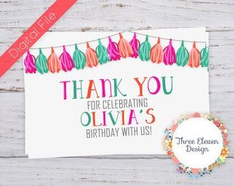 Pink Tassel Printable Thank You Card
