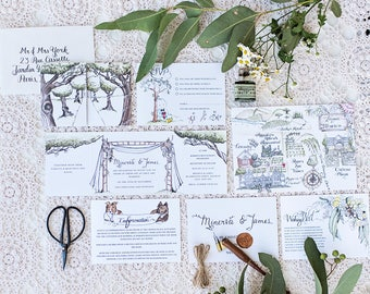 Custom watercolour invitations wedding  l  watercolor  l  bespoke design wedding stationery  l  modern calligraphy  l  save the date