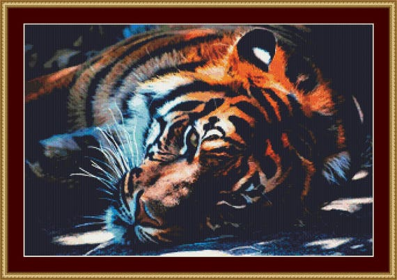 Resting Tiger Cross Stitch Pattern /Digital PDF Files /Instant downloadable