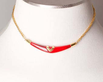 Vintage Trifari Red Lucite with Gold Accent Necklace