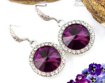 Amethyst Earrings Purple Earrings Rhinestone Earrings Swarovski Rivoli Crystal Earrings Bridesmaid Gift Dangle Earrings Drop Earrings AM34H